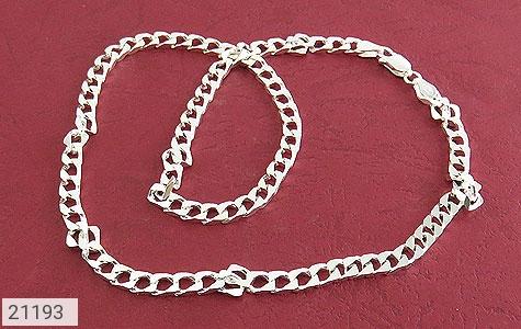 عکس زنجیر نقره طرح حلقه 45 سانتی
