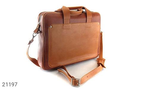 عکس کیف چرم طبیعی عسلی دستی یا دوشی سایز بزرگ