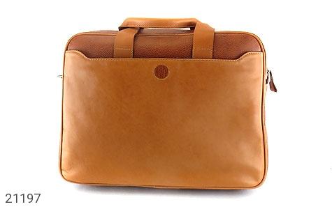 عکس کیف چرم طبیعی عسلی دستی یا دوشی سایز بزرگ - شماره 3