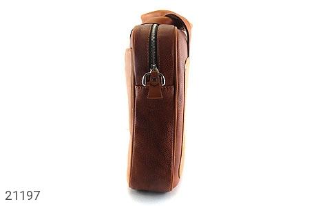 عکس کیف چرم طبیعی عسلی دستی یا دوشی سایز بزرگ - شماره 4