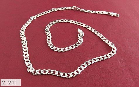 تصویر زنجیر نقره طرح بافت فاخر 56 سانتی - شماره 1