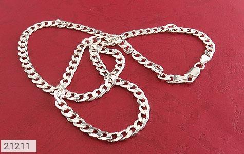 تصویر زنجیر نقره طرح بافت فاخر 56 سانتی - شماره 2