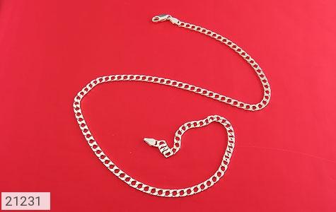 عکس زنجیر نقره طرح حلقه ای 45 سانتی - شماره 1