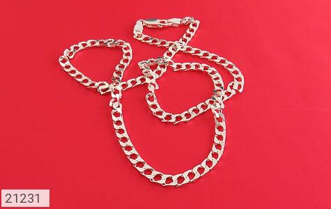عکس زنجیر نقره طرح حلقه ای 45 سانتی - شماره 2