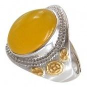 انگشتر نقره عقیق زرد درشت طرح سلطان رکاب فری سایز