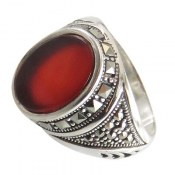 انگشتر عقیق قرمز طرح شاپور مردانه