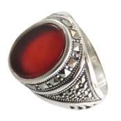 انگشتر نقره عقیق قرمز طرح شاپور مردانه
