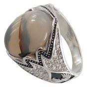 انگشتر نقره عقیق شجر طرح هومن مردانه