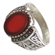 انگشتر عقیق قرمز طرح یاشار مردانه