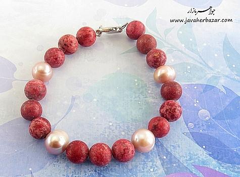دستبند مروارید و جید خوش رنگ زنانه - 21542