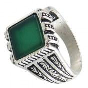 انگشتر عقیق سبز طرح آرسام مردانه