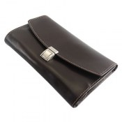 کیف چرم طبیعی دستی قهوه ای تیره دوخت روشن