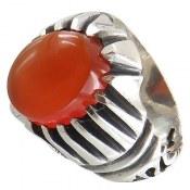 انگشتر نقره عقیق یمنی خوش رنگ طرح صابر مردانه