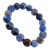 دستبند عقیق آبی تراش لانه زنبوری زنانه