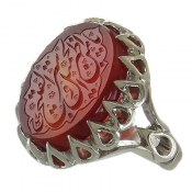 انگشتر نقره عقیق یمنی حکاکی یا منْ اظْهر الْجمیل و ستر الْقبیح مردانه