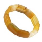 دستبند عقیق زرد درشت و خوش نقش زنانه