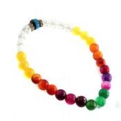 دستبند عقیق و کوک (کشکول) رنگارنگ زنانه