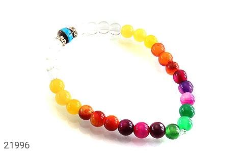 عکس دستبند عقیق و کوک (کشکول) رنگارنگ زنانه