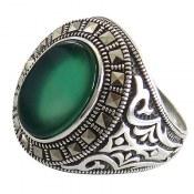 انگشتر عقیق سبز طرح شهنام مردانه