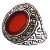 انگشتر نقره عقیق قرمز طرح شهراد مردانه