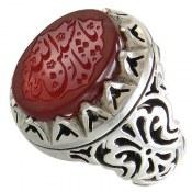 انگشتر نقره عقیق یمنی حکاکی یا حسین ثارالله مردانه