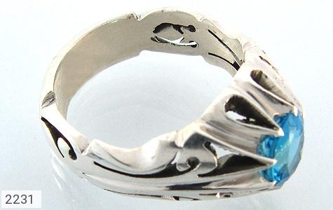 عکس انگشتر توپاز آبی مرغوب دست ساز مردانه