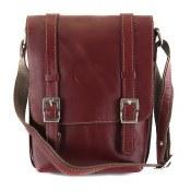 کیف چرم طبیعی زرشکی مدل اسپرت دوشی