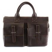 کیف چرم طبیعی قهوه ای تیره مدل دستی زنانه