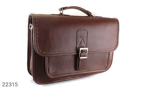 عکس کیف چرم طبیعی قهوه ای تیره طرح کلاسیک