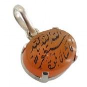 مدال نقره عقیق یمن شرف الشمس حکاکی ماشاء الله لا قوه الا بالله استغفرالله