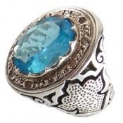 انگشتر نقره توپاز آبی دور برلیان اصل درشت و شاهانه مردانه