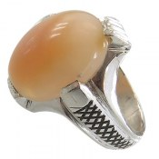 انگشتر نقره اپال درشت فاخر طرح کلاسیک مردانه