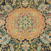 ترمه رومیزی رومیزی سایز بزرگ طرح سنتی تیره