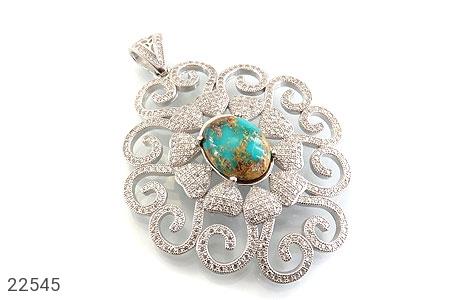 عکس مدال نقره فیروزه نیشابوری فاخر و سلطنتی زنانه
