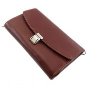 کیف چرم طبیعی کلاسیک قهوه ای تیره مدل دستی