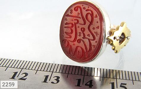 عکس انگشتر نقره عقیق درشت حکاکی نصر من الله و فتح قریب استاد مجد مردانه
