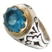 انگشتر توپاز آبی صفوی درشت و فاخر مردانه