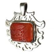 مدال نقره عقیق یمنی لبیک یا حسین ع درشت و باشکوه