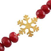 دستبند نقره جید و طرح برف زنانه