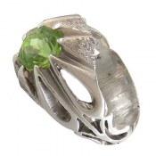 انگشتر نقره زبرجد خوش رنگ طرح دور اشکی مردانه