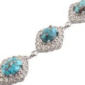 دستبند فیروزه نیشابور فاخر طرح پرنسس زنانه