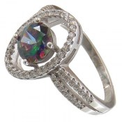 انگشتر نقره توپاز هفت رنگ طرح مهراوه زنانه