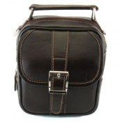 کیف چرم طبیعی قهوه ای تیره دستی یا دوشی طرح آتیلا