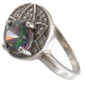 انگشتر توپاز هفت رنگ طرح ستاره زنانه