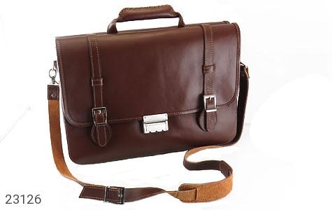 عکس کیف چرم طبیعی قهوه ای تیره طرح دیپلمات
