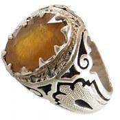 انگشتر نقره یاقوت زرد دور برلیان اصل و باشکوه مردانه