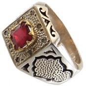 انگشتر نقره یاقوت سرخ و برلیان اصل طرح کلاسیک فاخر مردانه