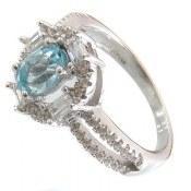 انگشتر توپاز آبی طرح هانا زنانه