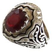 انگشتر یاقوت سرخ دوربرلیان اصل شاهانه مردانه
