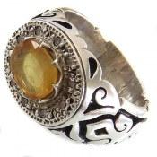 انگشتر نقره یاقوت زرد دور برلیان اصل طرح فاخر مردانه